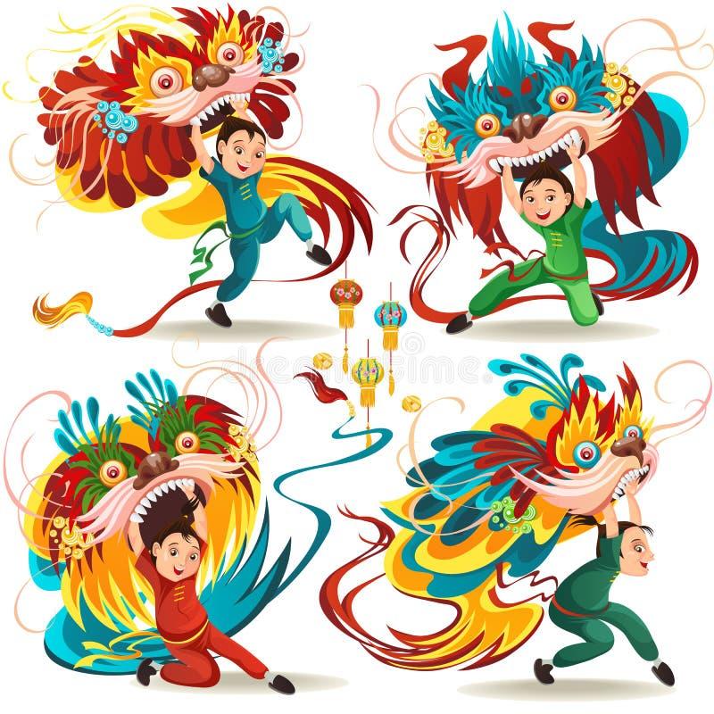 Chinesisches neues Mondjahr Lion Dance Fight lokalisiert auf weißem Hintergrund, glücklicher Tänzer in der traditionellen Kostümh vektor abbildung