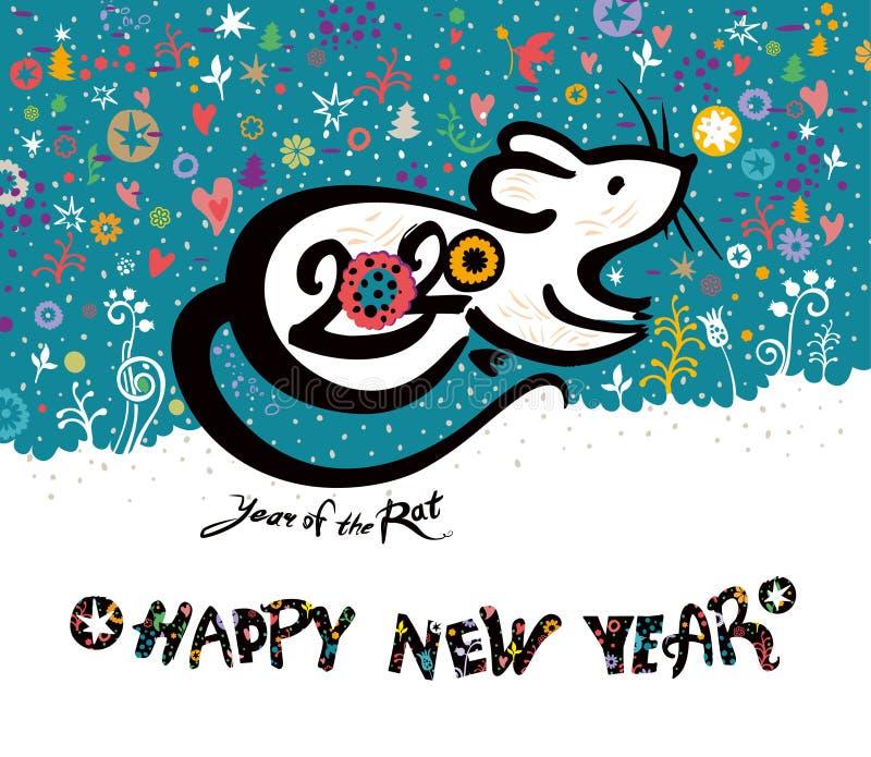 Chinesisches Neujahr 2020 mit einer schönen Abbildung der niedlichen weißen Ratte auf blumengeschmücktem Hintergrund stockbild