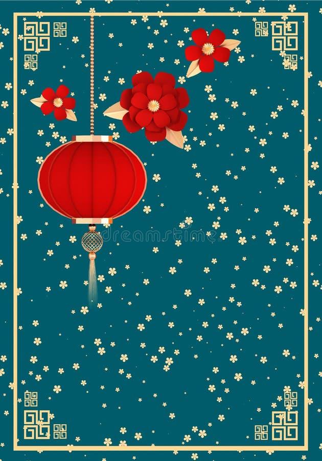 Chinesisches Neujahr Traditionelle Laterne und rote Blumen auf Azurblau 3D-Illustrationsfläche lizenzfreie abbildung