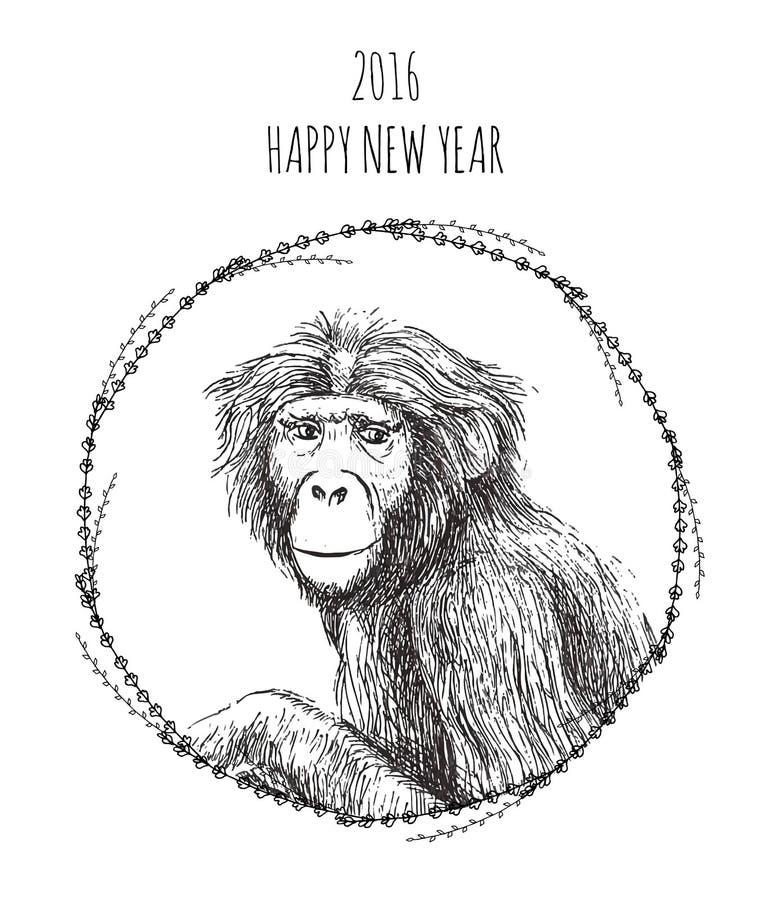 Chinesisches Neujahrsfest des Affen 2016 vektor abbildung
