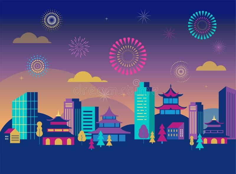 Chinesisches Neujahrsfest - Stadtlandschaft mit bunten Feuerwerken und Laternen Es kann für Leistung der Planungsarbeit notwendig lizenzfreie abbildung