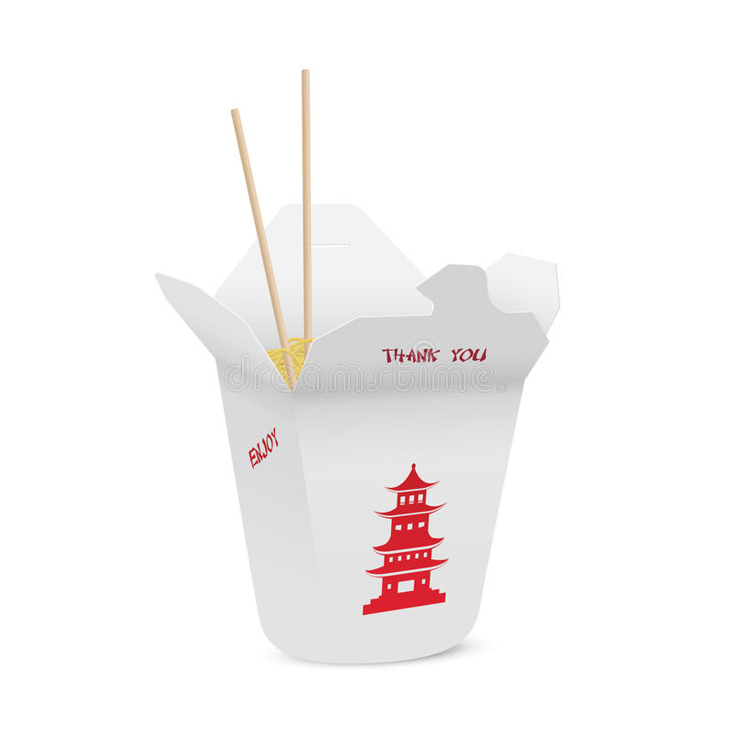 Chinesisches Restaurant öffnete sich herausnehmen den Kasten, der mit Nudeln gefüllt wurde stock abbildung