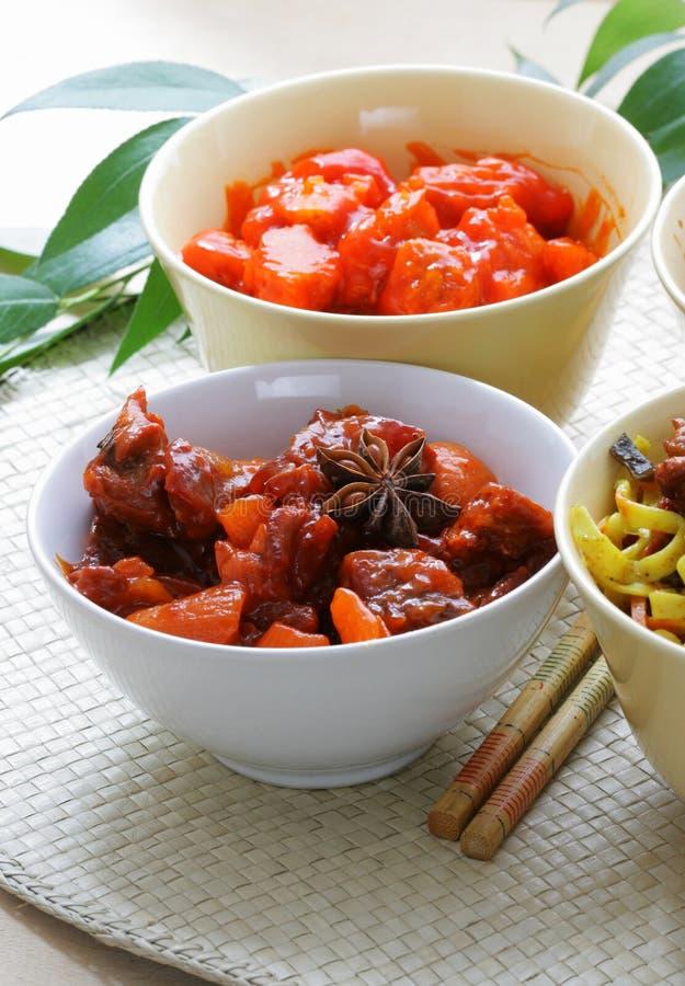 Chinesisches Rindfleisch und Schweinefleisch stockfoto