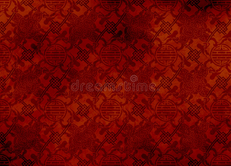 Chinesisches rotes strukturiertes Muster in mit Filigran geschmücktem für backg stockfotos