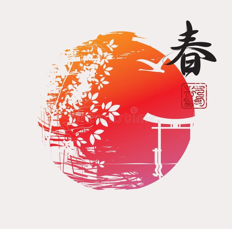 Chinesisches Schriftzeichen Frühling mit orientalischer Landschaft vektor abbildung