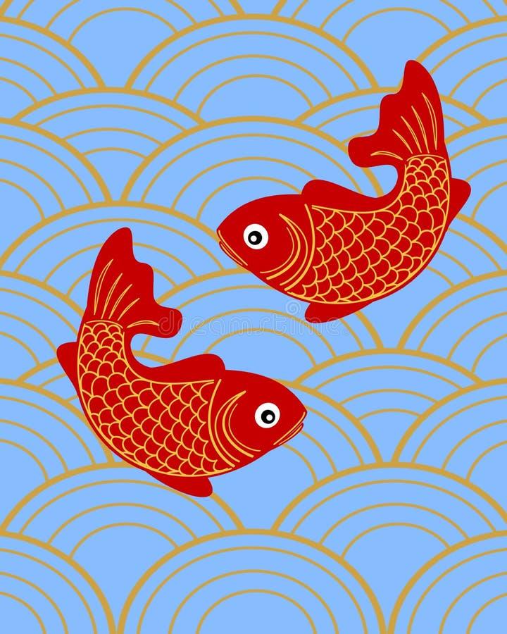 Chinesisches Thema mit zwei glücklichen Fischen stock abbildung