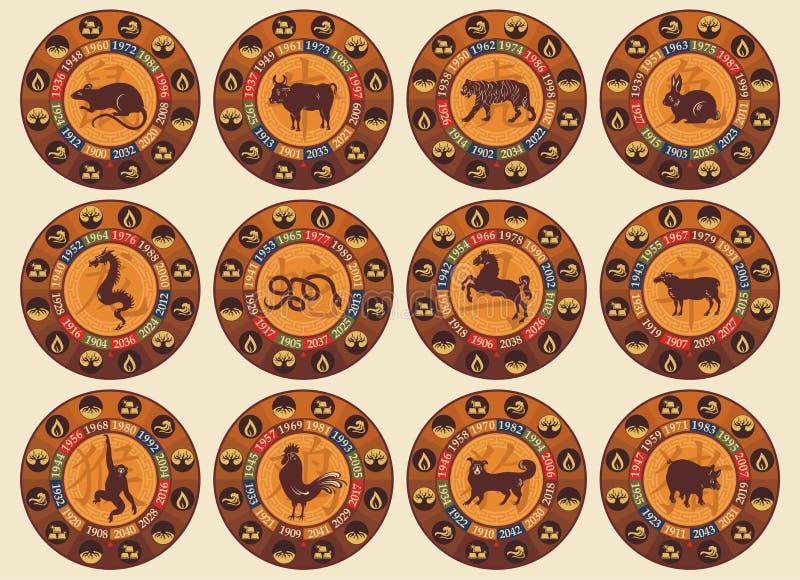 Chinesisches Tierkreis-Set vektor abbildung
