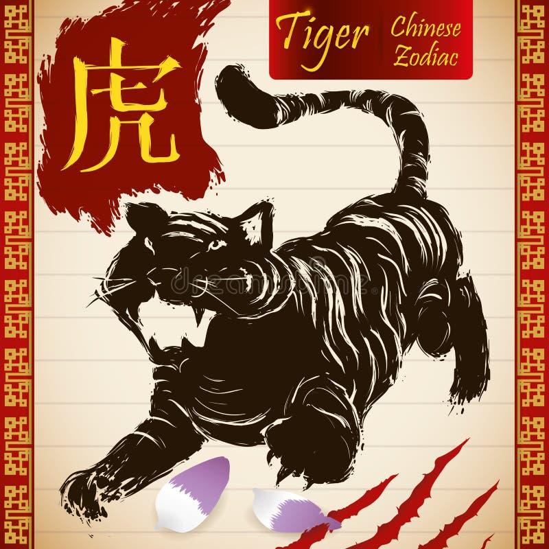 Chinesisches Tierkreis-Tier: Tiger mit Kratzer, den Blumenblättern und Rolle, Vektor-Illustration vektor abbildung