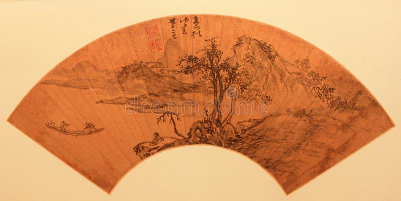 Chinesisches traditionelles faltendes Gebläse stockbild