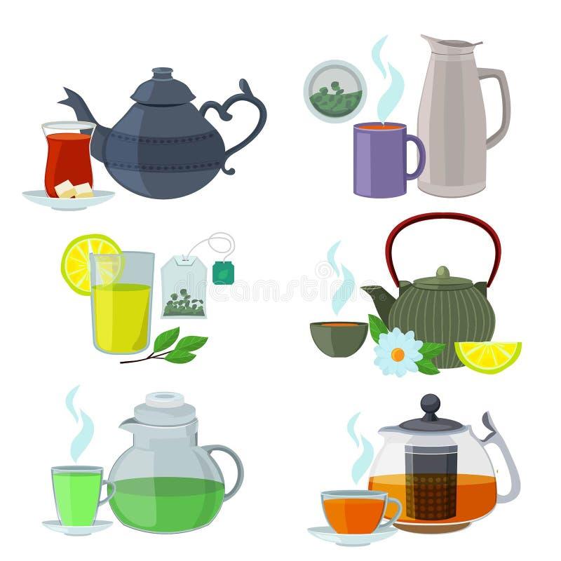 Chinesse, het Engels en andere verschillende types van thee Vastgestelde de vector isoleert op wit vector illustratie