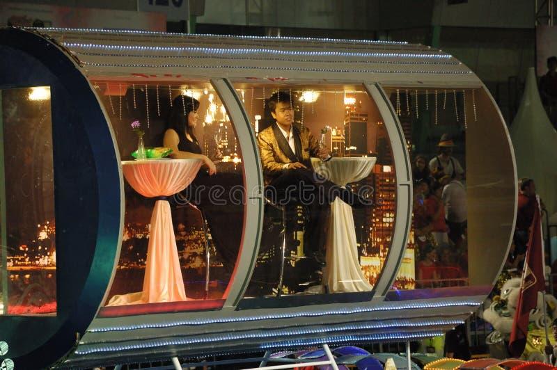 Chingay Parade 2010: Singapore Flyer Float. Segment 1 of Chingay Parade 2010 Presented by: Singapore Flyer, Zambiacongo Capoeria Groups (S royalty free stock photos