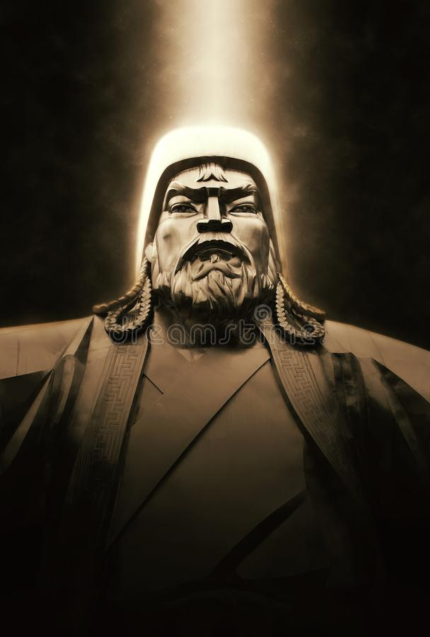 Chinggis Khan monument. On dark background royalty free stock images