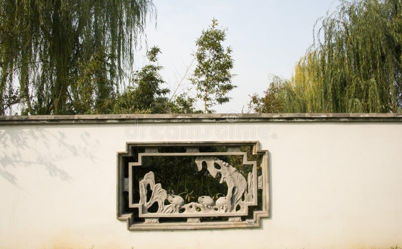 Chino asiático, Pekín, expo del jardín, edificios antiguos, ventana de la flor, foto de archivo