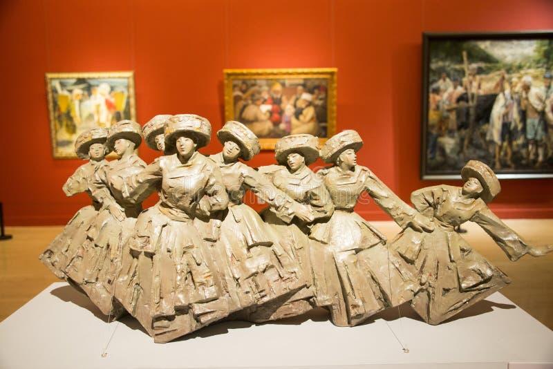 Chino de Asia, Pekín, chino Art Museum, sala de exposiciones interior fotografía de archivo