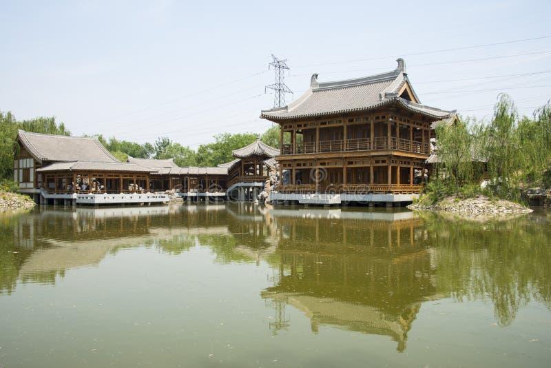 Chino de Asia, Pekín, jardín de Yu, lago, arquitectura clásica del jardín foto de archivo libre de regalías