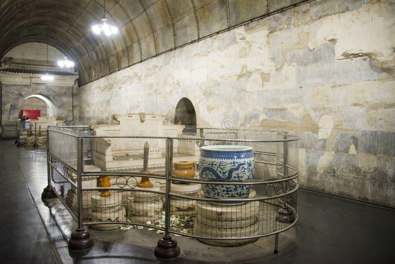 Chino de Asia, Pekín, tumba de ŒUnderground del ¼ del palaceï de Œunderground del ¼ de Ming Dynasty Tombsï foto de archivo libre de regalías