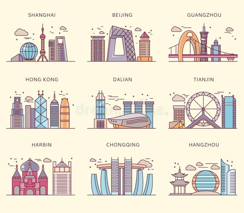 Chino Major Cities Flat Style de los iconos ilustración del vector