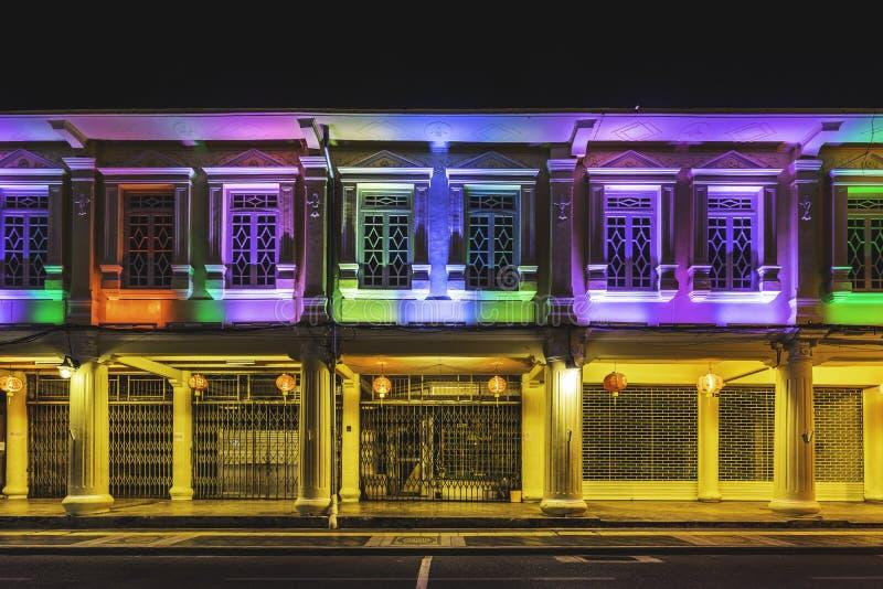 Chino-portugis hus i Phuket den gamla staden arkivfoto