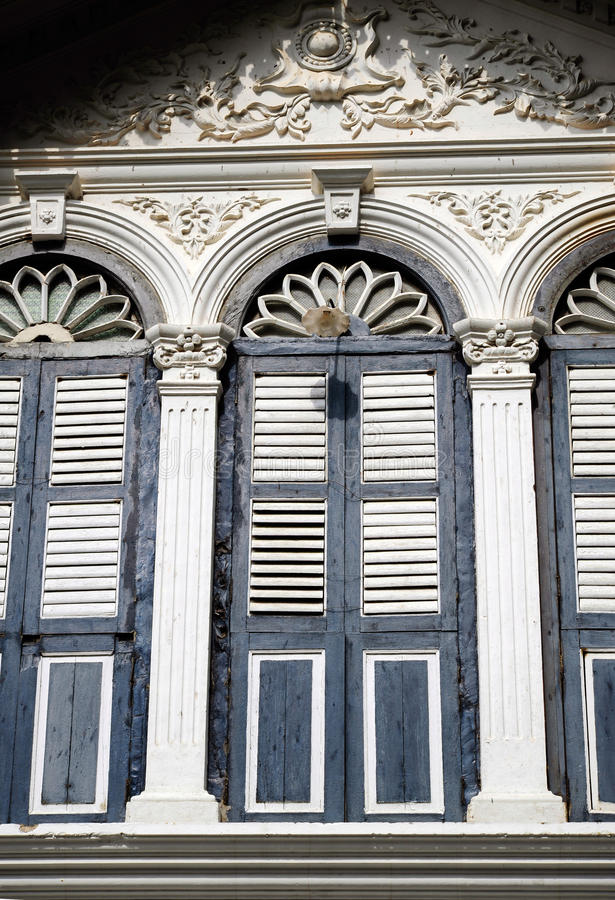 Chino Portuguese architecture style. Chino Portuguese windows, chino Portuguese architecture style stock photography