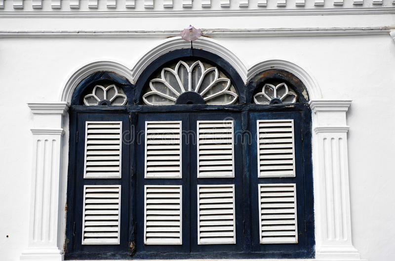 Chino Portuguese architecture style. Chino Portuguese windows, chino Portuguese architecture style royalty free stock photos