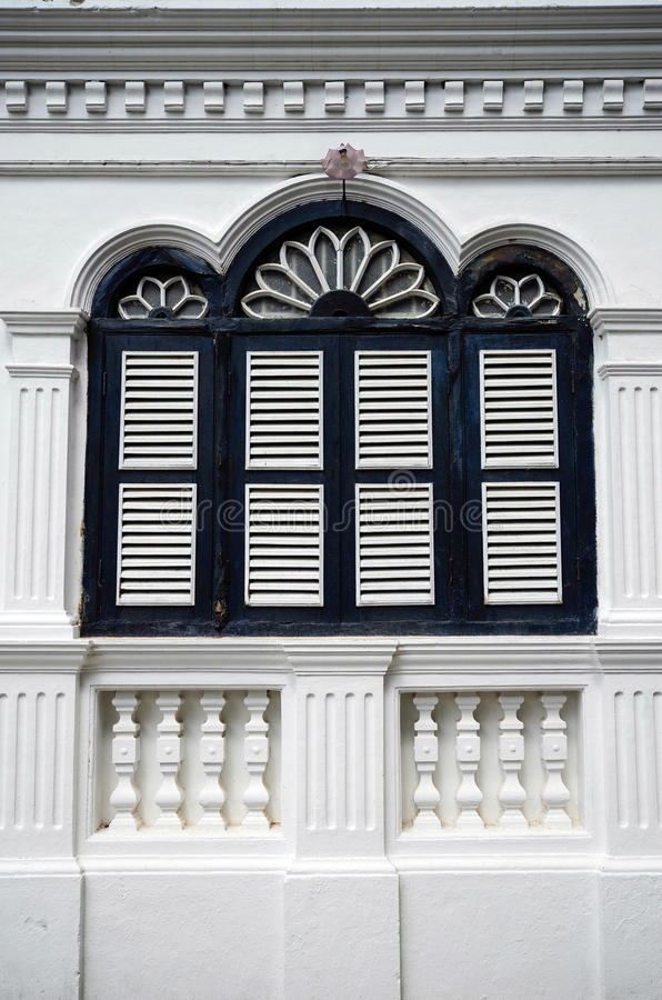 Chino Portuguese architecture style. Chino Portuguese windows, chino Portuguese architecture style royalty free stock image