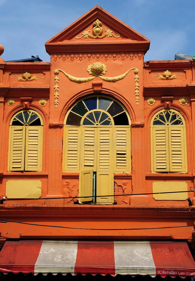 Chino Portuguese architecture style. Chino Portuguese windows, chino Portuguese architecture style royalty free stock photo