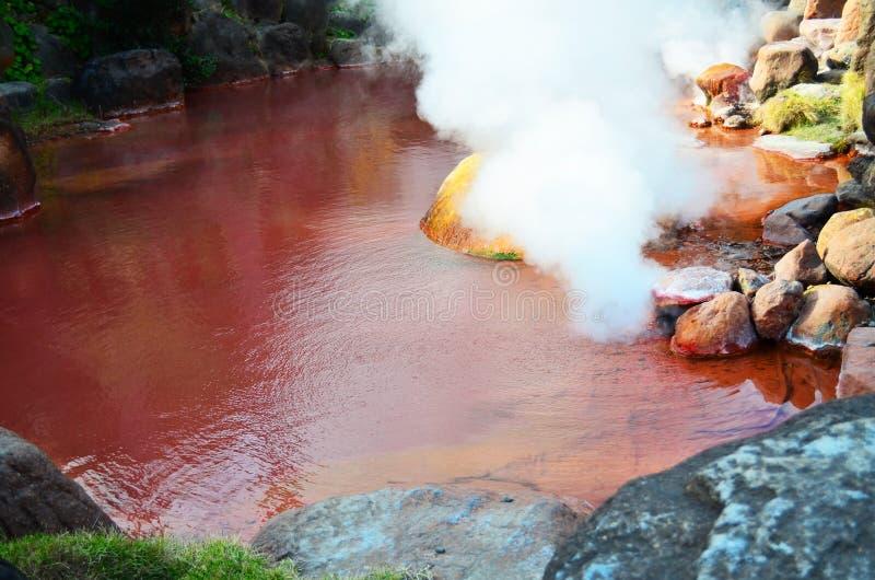 Chinoike Jigoku或血液池塘地狱在别府 免版税库存图片