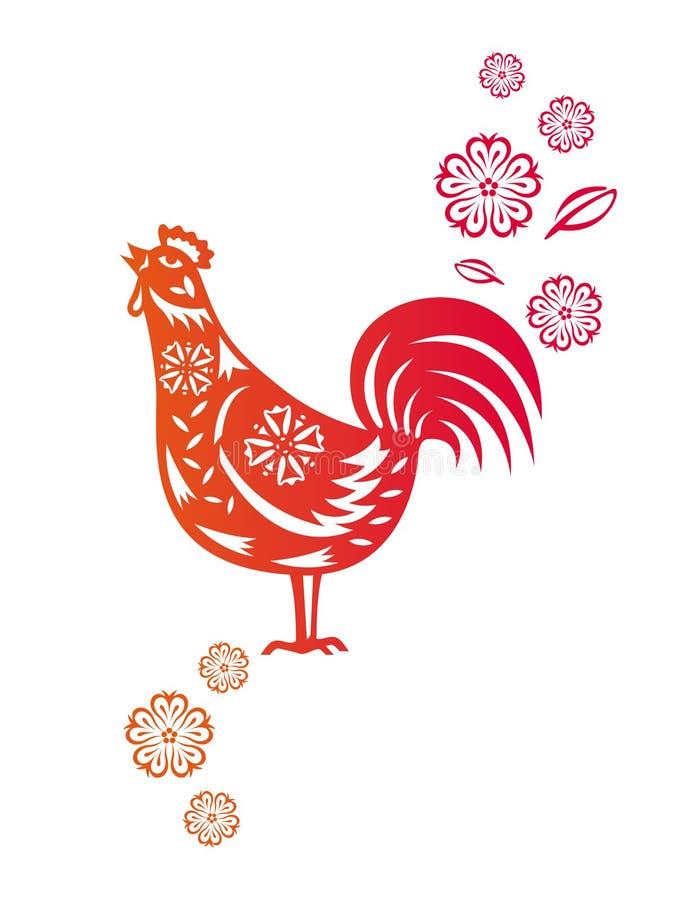An chinois de poulet de coq illustration de vecteur