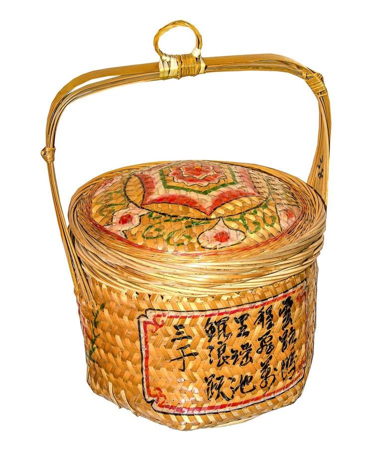 Chinois traditionnel en bambou de panier conçu images libres de droits