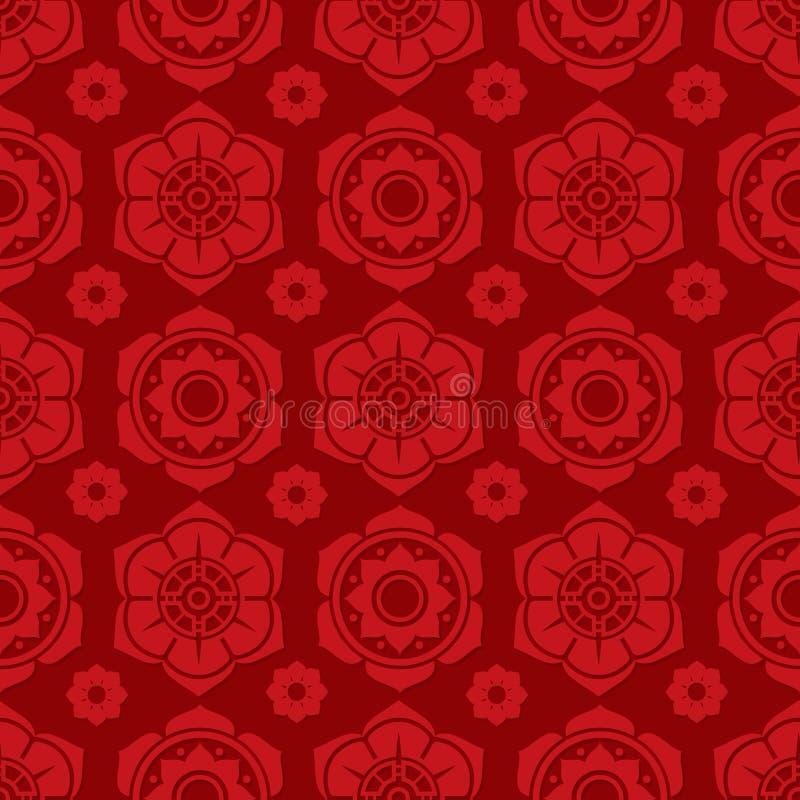 Chinois traditionnel et conception sans couture florale japonaise de modèle Texture sans couture asiatique de vecteur illustration de vecteur