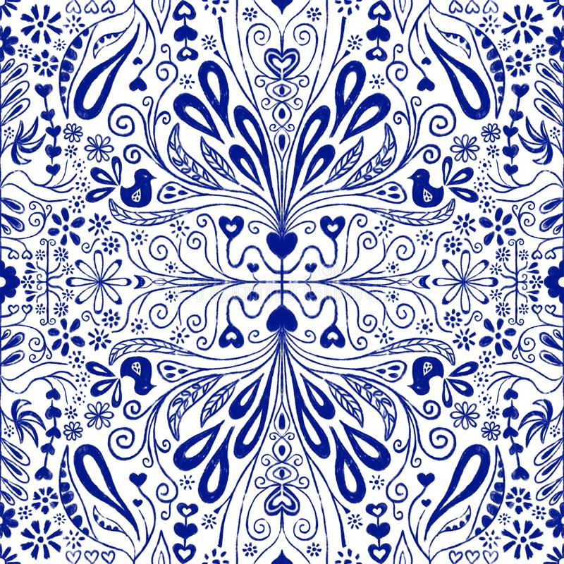 Chinoiserie seamless pattern background. Blue and white repeating tile with folk art flowers, leaves, hearts and birds. Use for vector illustration