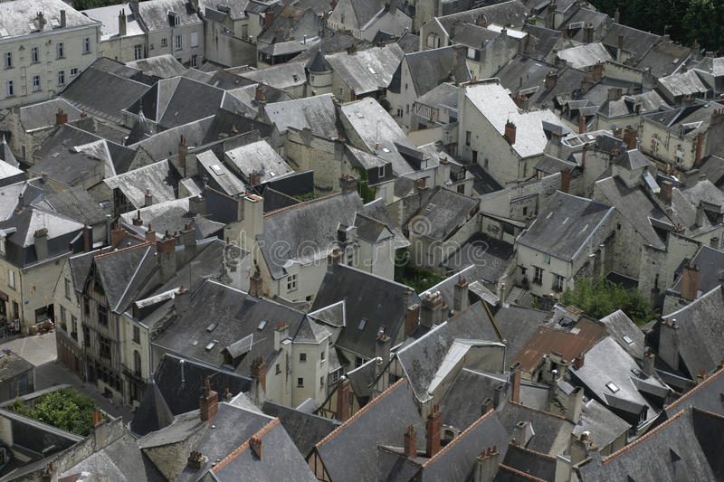 Chinon, in the Loire France, Rooftop view. Slate roofs of Chinon in sunlight stock photos