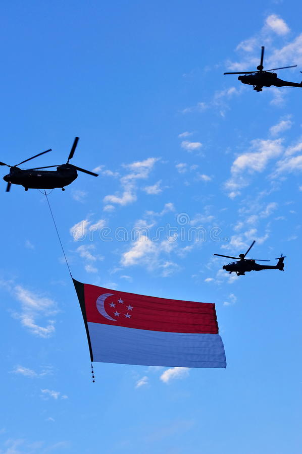 Download Chinook Flying Singapore Flag During NDP Editorial Stock Photo - Image: 14837798