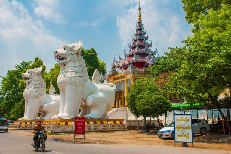 Chinthe 入口由动物装饰,曼德勒,缅甸巨大的雕象  库存照片