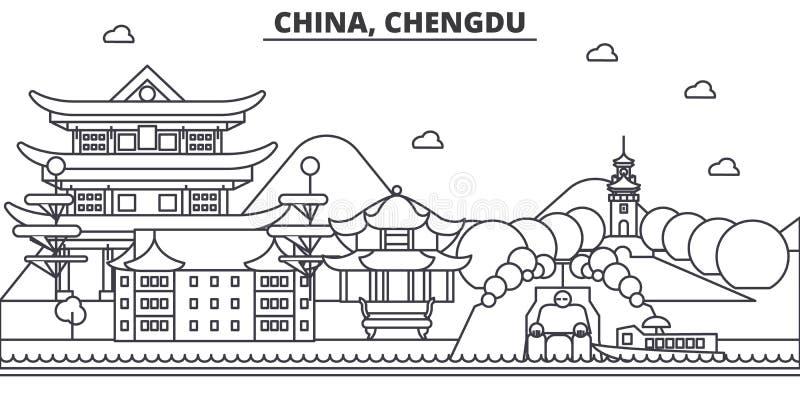 Chiny, Chengdu architektury linii linii horyzontu ilustracja Liniowy wektorowy pejzaż miejski z sławnymi punktami zwrotnymi, mias royalty ilustracja