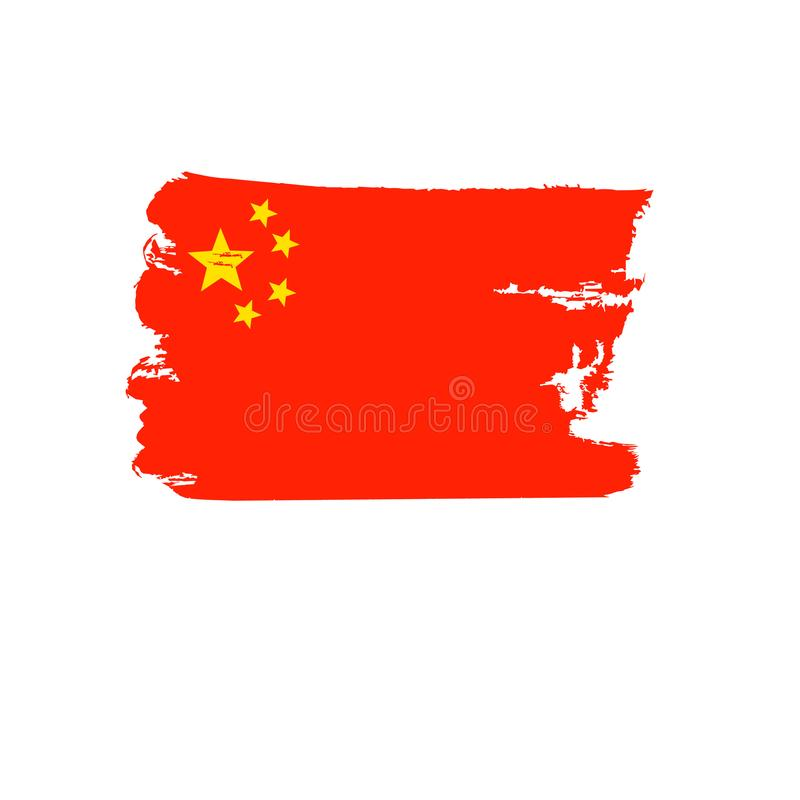 Chiny flaga malująca ręką Sztuki flaga Akwarela chorągwiany Chiny Chińska sztuki flaga zdjęcie stock