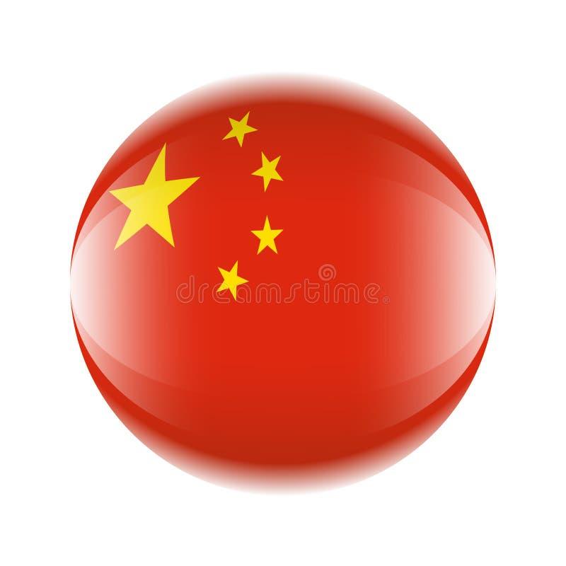 Chiny flagi ikona w postaci piłki ilustracji