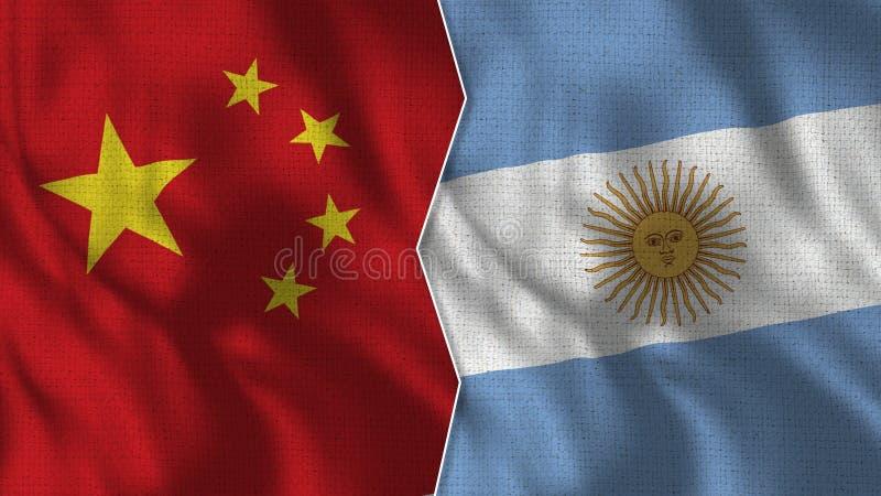 Chiny i Argentyna Przyrodnie flagi Wpólnie ilustracja wektor