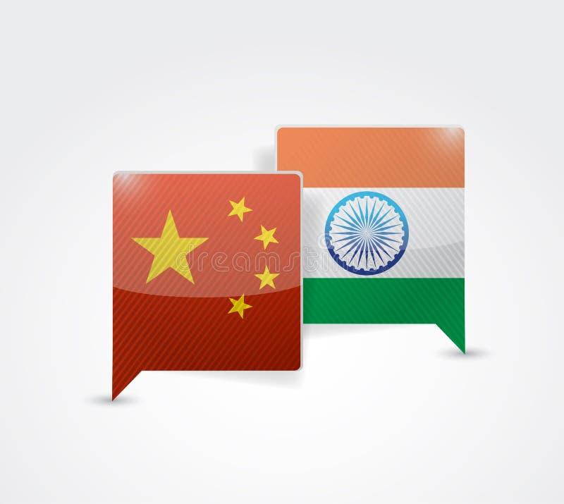 Chiny i ind wiadomości bąbel royalty ilustracja