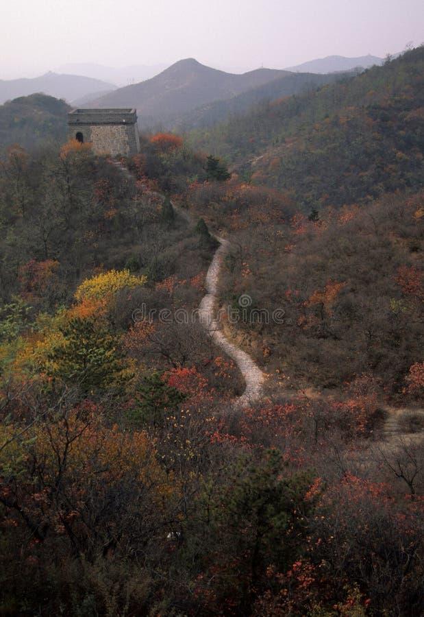 chiny koloru upadku wielki mur. obraz royalty free