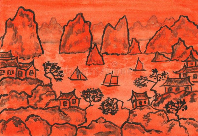 Chiny krajobraz w pomarańczowym colour, maluje ilustracji