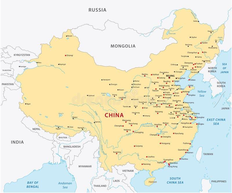 chiny lądową politycznej mapy obraz royalty free