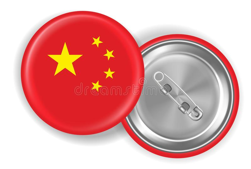 Chiny stali szpilki broszki chorągwiany round wektor royalty ilustracja