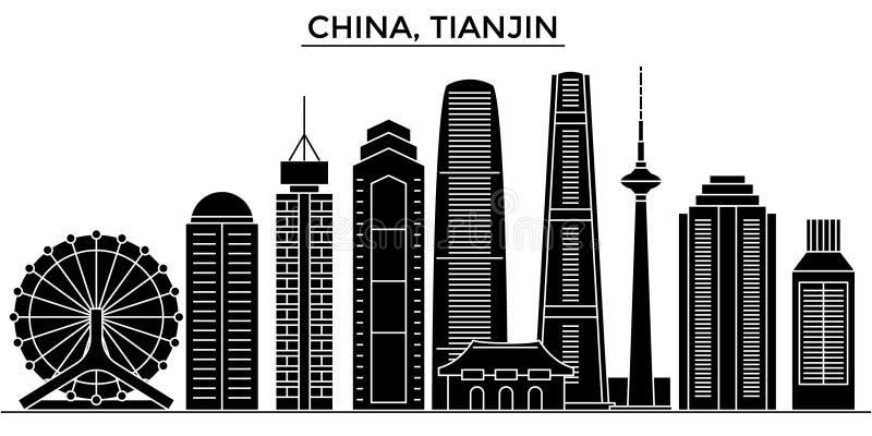 Chiny, Tianjin architektury miasto wektorowa linia horyzontu, podróż pejzaż miejski z punktami zwrotnymi, budynki, odosobneni wid ilustracja wektor