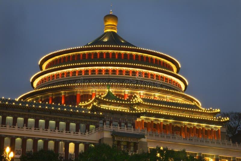 chiny wieczorem Chongqing Syczuan Renmin square obraz stock