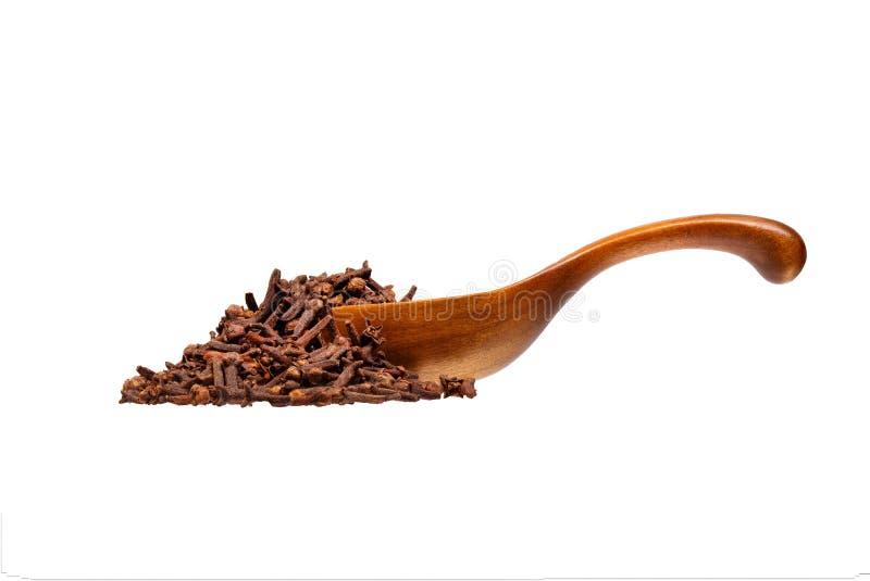 Chiodi di garofano secchi nel cucchiaio di legno, isolato su fondo bianco fotografia stock