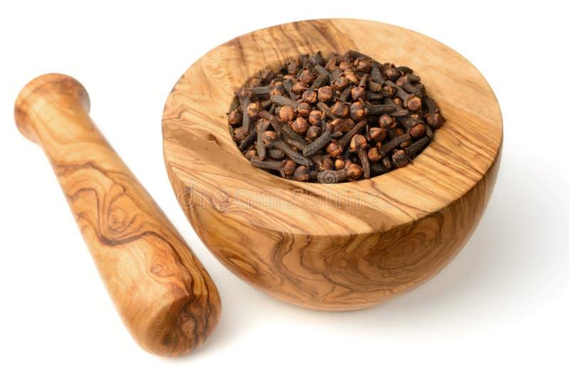 Chiodi di garofano secchi nel mortaio di legno, isolato su bianco immagini stock