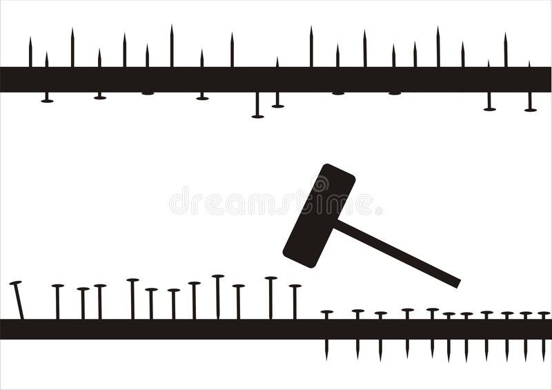 Chiodi e martello illustrazione vettoriale