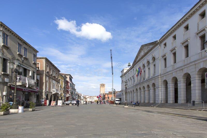 Chioggia, Italië - Februari 13, 2018: Historisch centrum van Chioggia Venetië Oude stad van Chioggia in Italië royalty-vrije stock fotografie