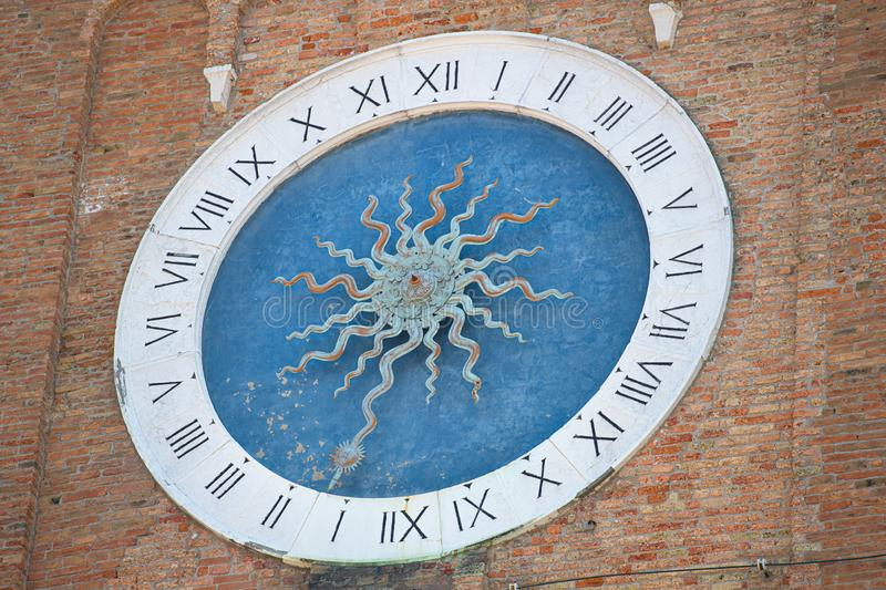 Chioggia. Italy. Mysteries Clock. The oldest tower in the world. in the bell tower of Sant`Andrea.  royalty free stock images